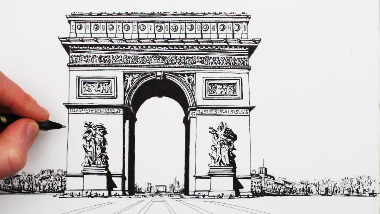 How To Draw Famous Buildings The Arc De Triomphe