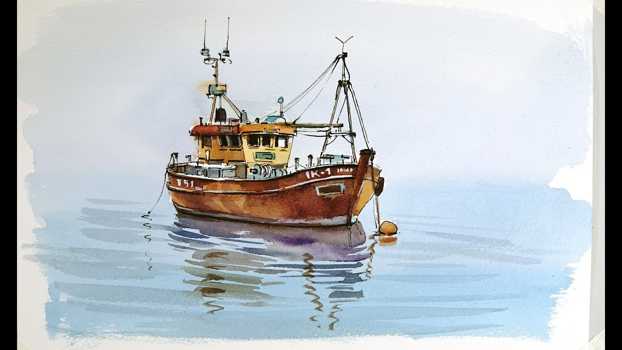 Pen and Wash Watercolor demonstration :Old Fishing boat ...