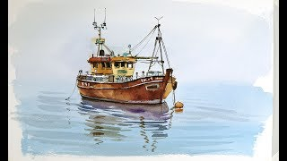 Pen and Wash Watercolor demonstration :Old Fishing boat