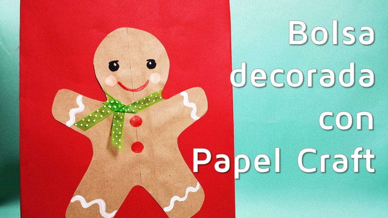 C mo decorar bolsas de regalo con papel kraft para navidad youtube - Papel autoadhesivo para decorar ...