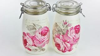 Decoupage jars - Painted jars - Decoupage tutorial - DIY painted glass - decoupage for beginners