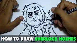 How to Draw a Cartoon - Sherlock Holmes (Tutorial Step by Step)