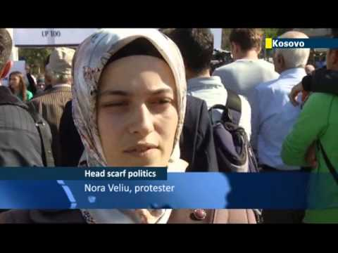Headscarf Ban Debate in Pristina: Kosovo women protest ban on Islamic headscarves in schools