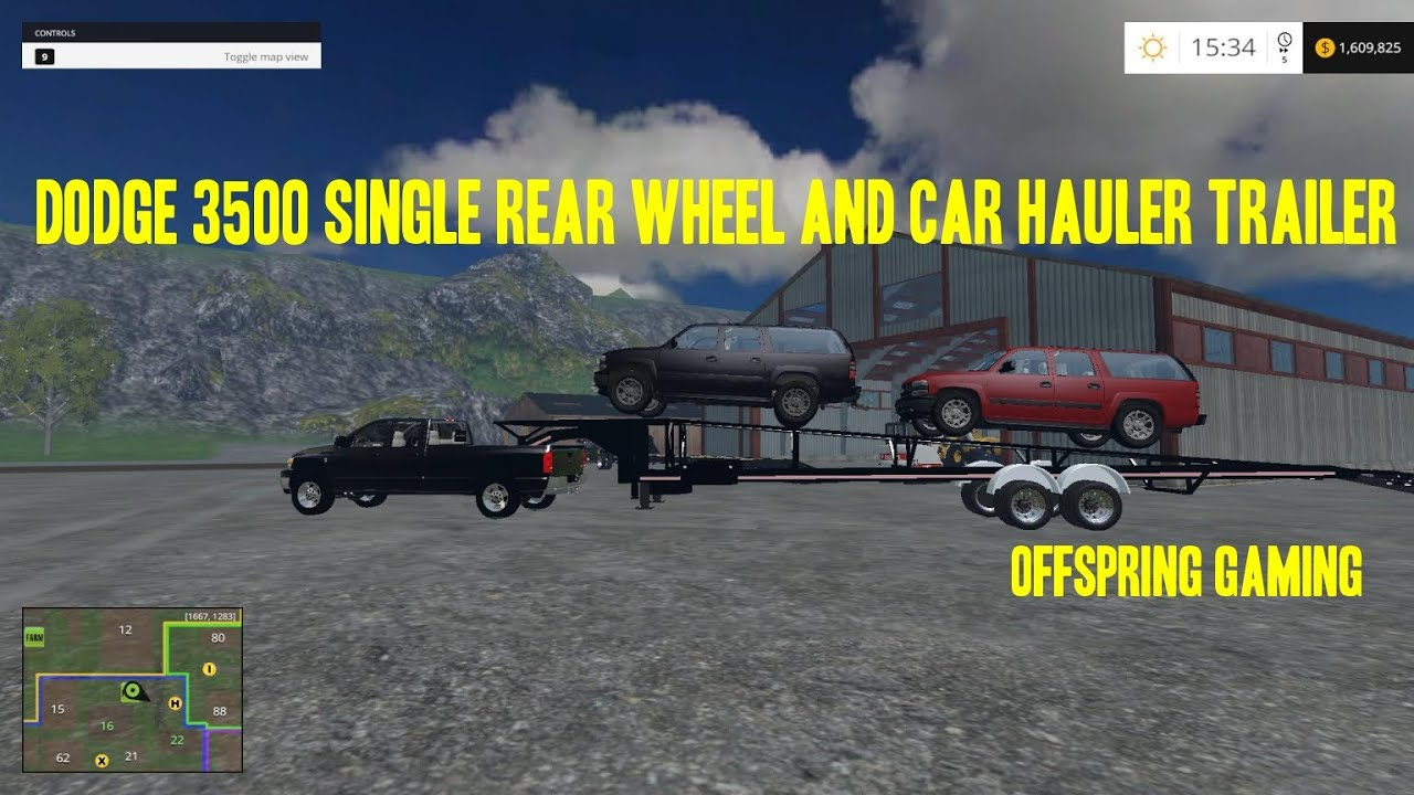 Farming simulator 2015 hauling hot shotting with the dodge 3500 and car trailer youtube