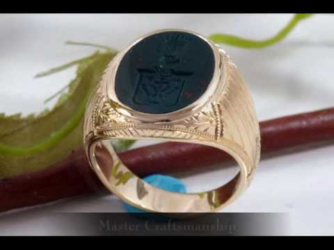 Carved Bloodstone Signet Ring with Hand Engraving