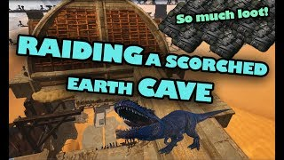 Raiding a scorched earth cave - so much loot! | ark official server
