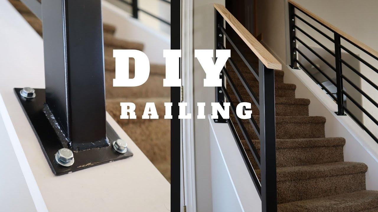 Diy Stair Railing Staircase Makeover Youtube   Modern Metal Railings Interior   Modern Style   Railing Design   Fancy   Modern Aluminium   Decorative