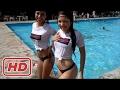 Thongs girls in tshirts in pool
