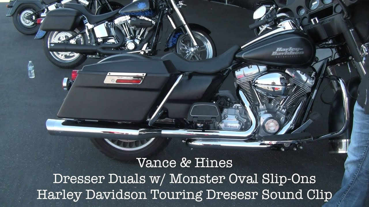 Vacne And Hines Dresser Duals Exhasut Harley Davidson Touring Sound Clip
