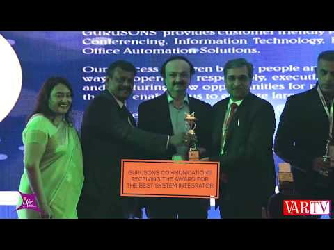 Gurusons Communications Receiving The Award For The Best System Integrator At VAR Symposium