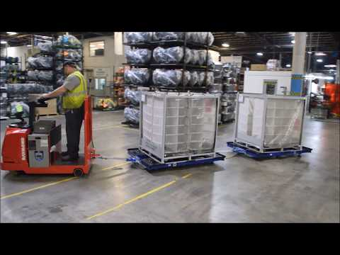 FlexQube industrial tugger carts together with Raymond tugger