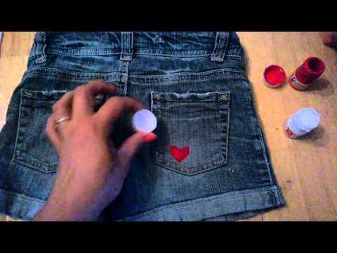 Decorar Short O Jeans Con Pinturas Acrilicas Youtube
