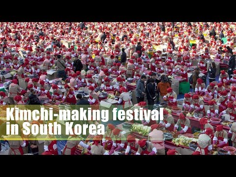 Live: Kimchi-making festival in South Korea 韩国庆祝泡菜节