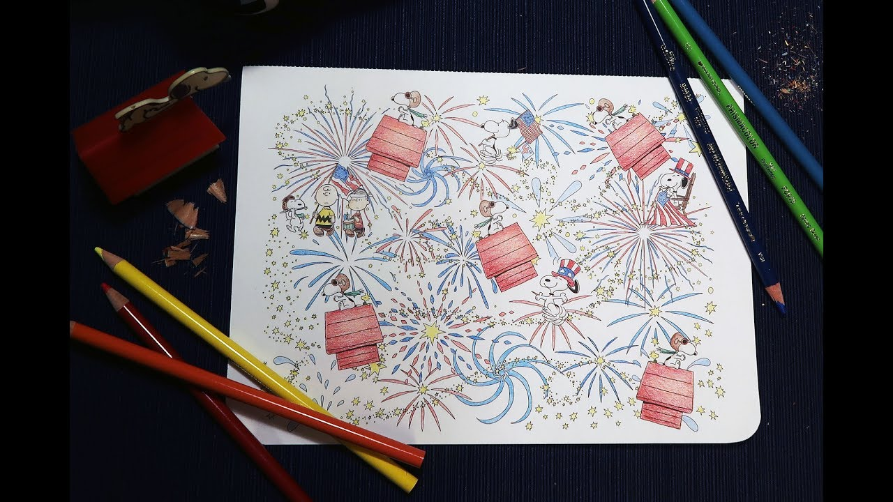 Snoopy and Friends American Fireworks! - Peanuts Posh Coloring Book ...