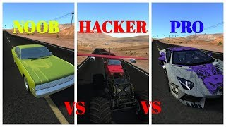 NOOB vs PRO vs HACKER - Beamng drive (Car Crashes & Stunts)