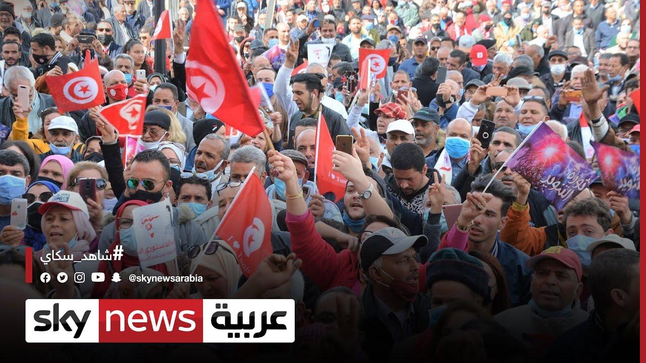 اشتباكات بين الأمن ومتظاهرين وسط العاصمة التونسية  - 12:55-2021 / 6 / 13