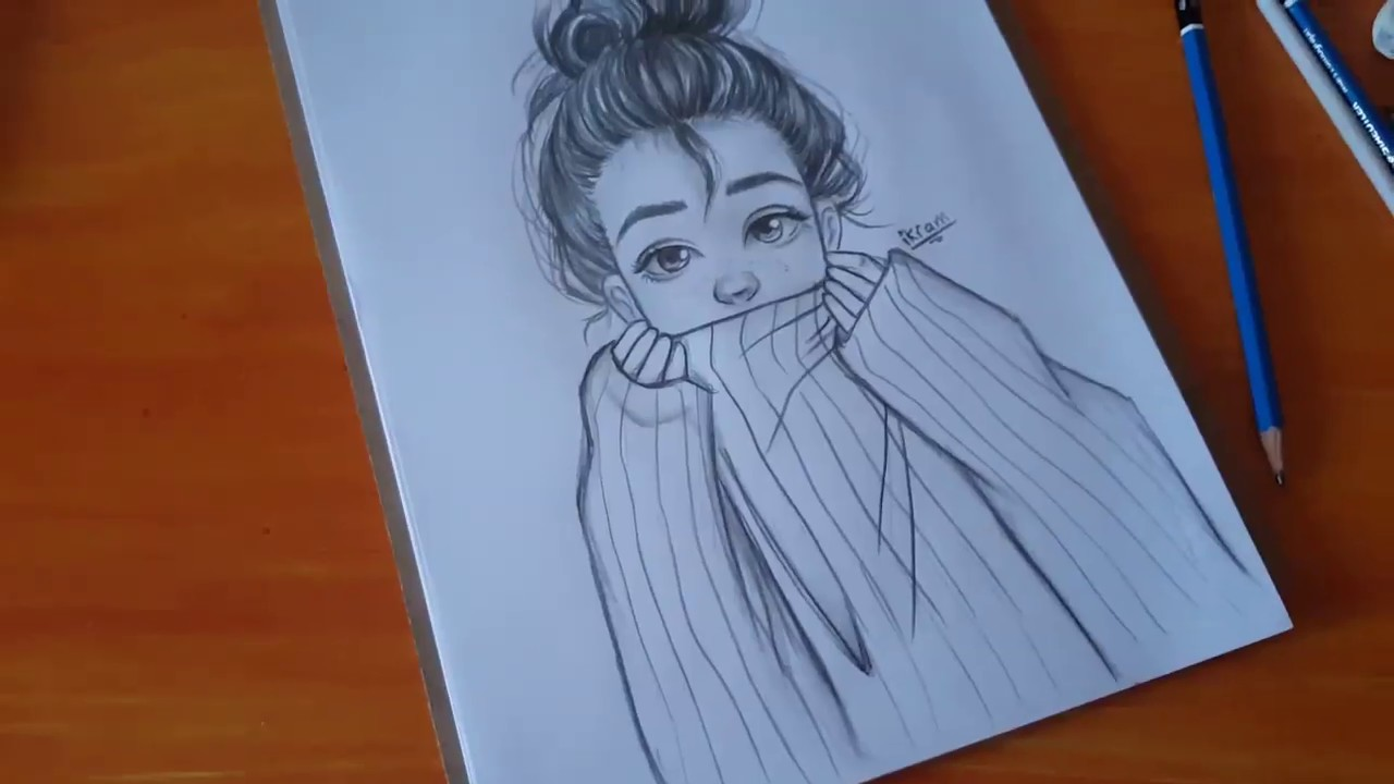 [VIDEO] - Drawing tutorial #1 | How to Draw Cute Winter Girl | Step by Step 7