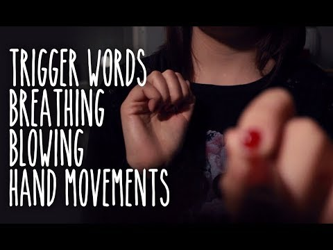 ASMR Brain melting Trigger words (IT), breathe, blowing sounds with hand movements.