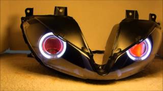#1 2013+ Daytona 675R 675 Projector headlight halos angel eyes demon eyes BKMOTO