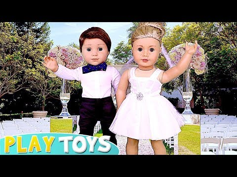 Play American Girl Doll Wedding Day Party Dress Up And Spa Toys! 🎀
