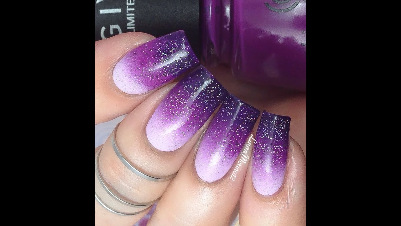 Purple Gradient (Ombre) Nail Art Tutorial - YouTube