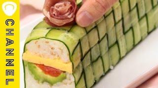 ①まるでケーキみたい!編み込み寿司 ひなまつりにこんな凝ったお寿司は...