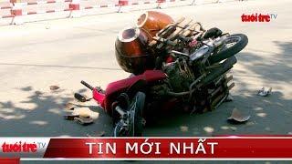 Xe khách ôm cua ngược chiều tông 2 xe máy, 1 người nguy kịch