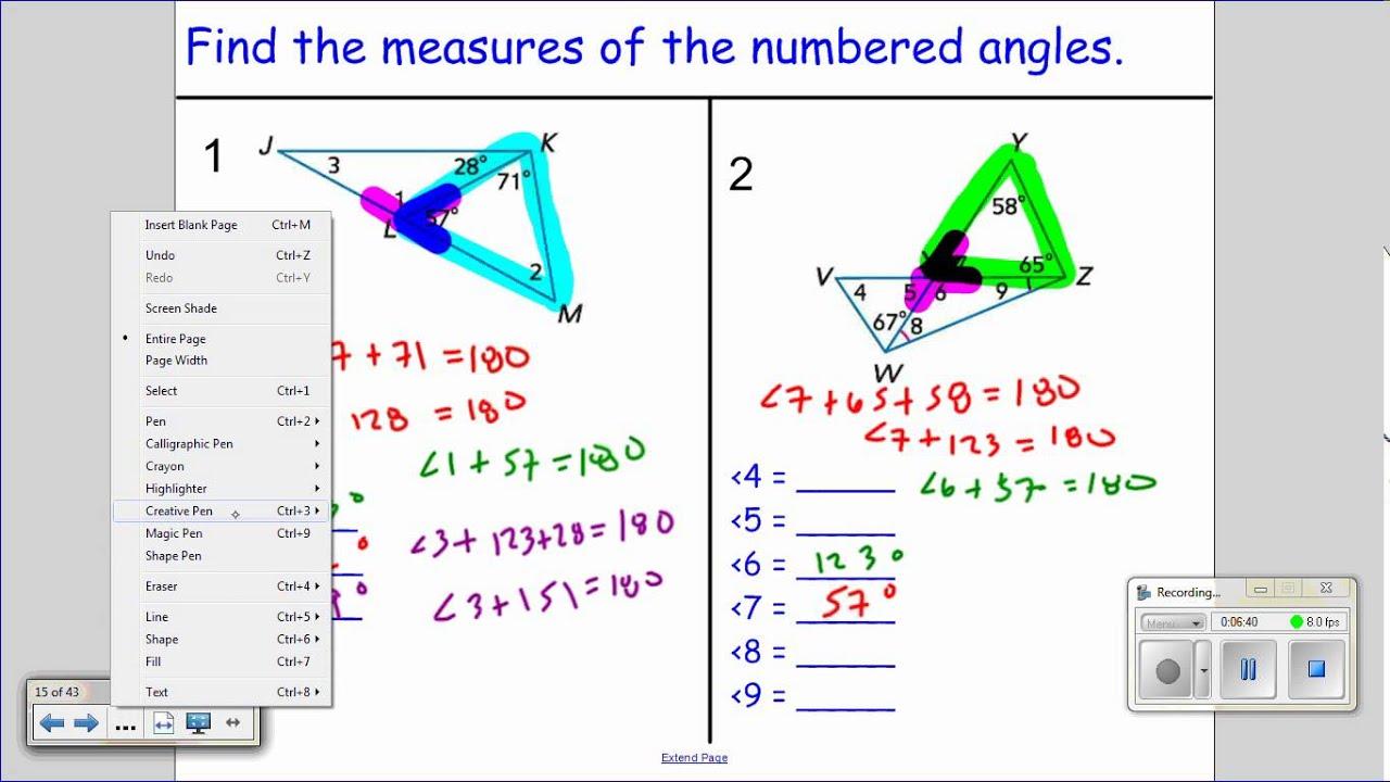 worksheet Triangle Angle Sum Duliziyou Worksheets for Elementary – Triangle Angle Sum Theorem Worksheet