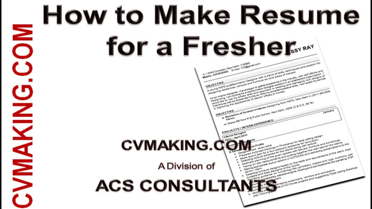 resume Prepare Resume Freshers prepare resume for fresher format how to make cv of a youtube