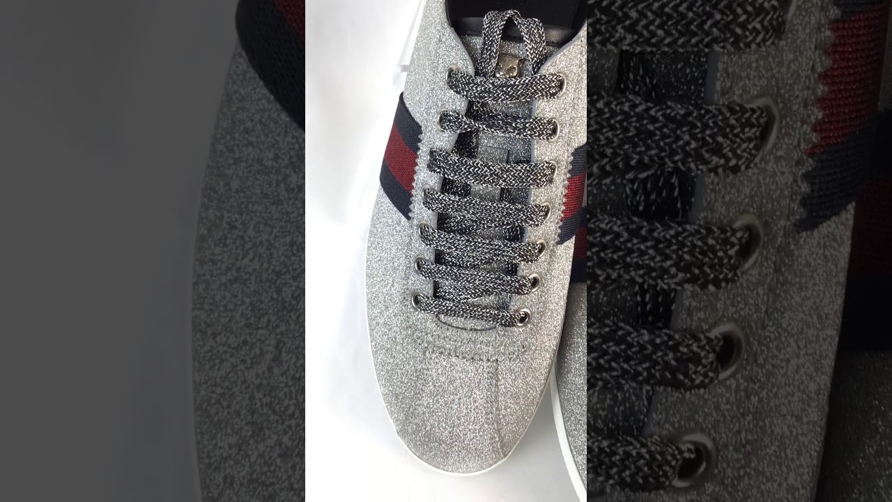 ae2dff13 Gucci Bambi Web Low-Top Sneaker Stud Detail Silver Sparkle Glitter For Sale