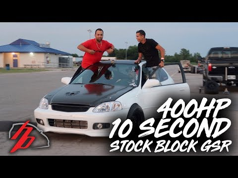 400HP Stock Block B18 GSR Goes How Fast?!