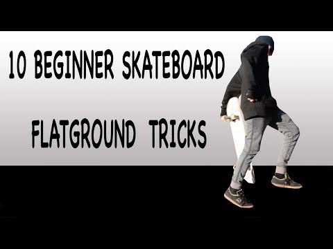 10 Beginner Skateboard Tricks in 60 s / Flatground
