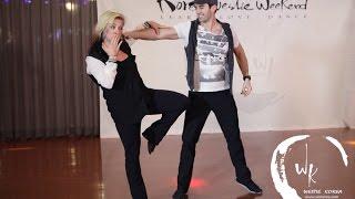 Jordan Frisbee & Tatiana Mollmann- Free Style West Coast Swing demo - 2015 Korea Westie Weekend