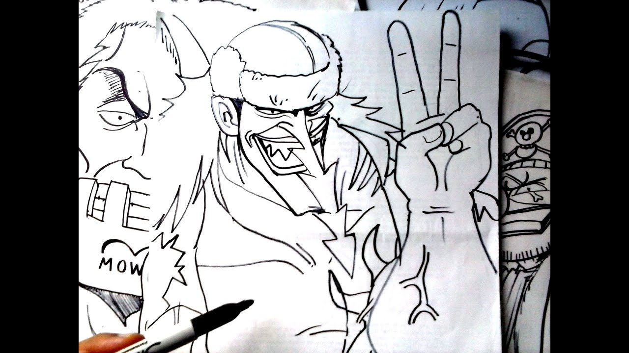 One piece mira y animate a dibujar al pirata pez sierra for Dibujos one piece