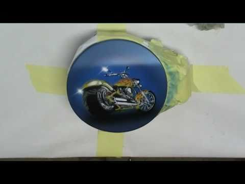 STENCIL AIRBRUSHING CHOPER ON VW GAS CAP