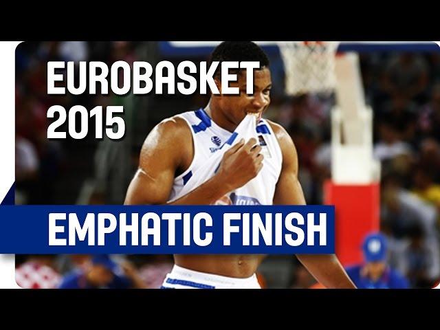 Γιάννης Αντετοκούνμπο σε εμφατικό κάρφωμα στο τελείωμα της ωραίας πάσας του Βασίλη Σπανούλη 2ης ημέρας του Ευρωμπάσκετ 2015 απέναντι στη Κροατία (video FIBA)