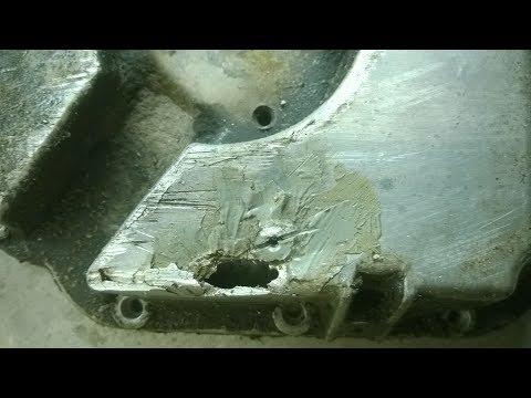 Ремонт алюминиевого поддона двигателя Ауди а6