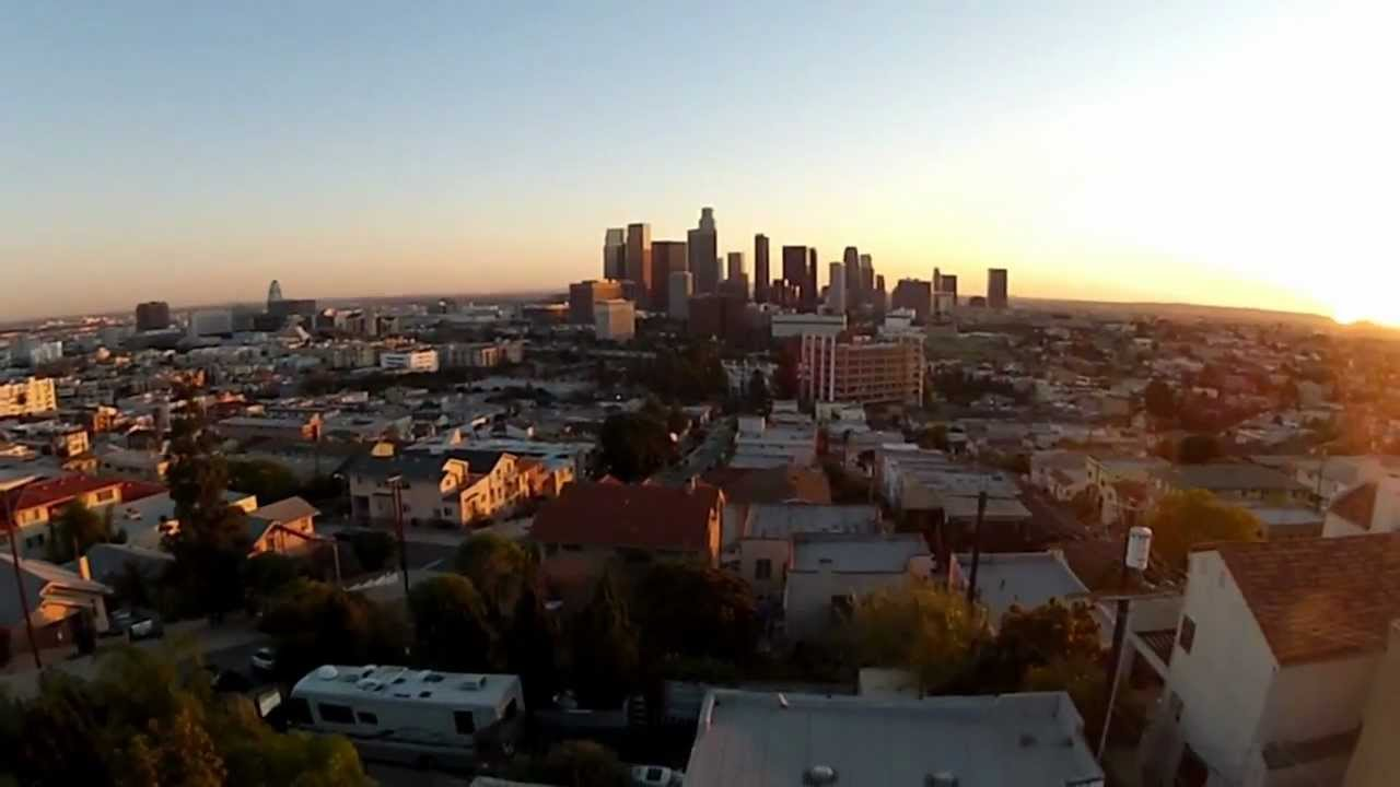 Aerial Vidography Of Los Angeles Skyline During Sunset
