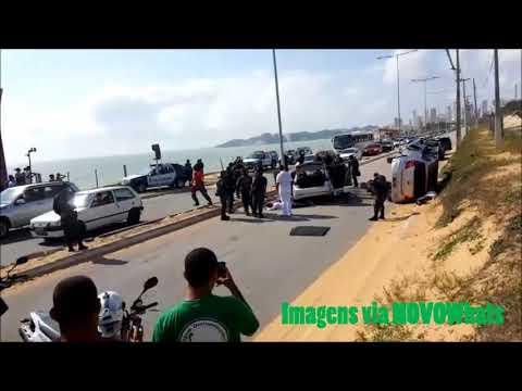 Vídeo mostra acidente causado por bandidos em fuga na Via Costeira, confira