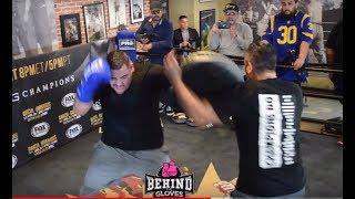 LISTEN TO THAT CRACK! ANDY RUIZ CRUSHES PAD DURING MEDIA WORKOUT!