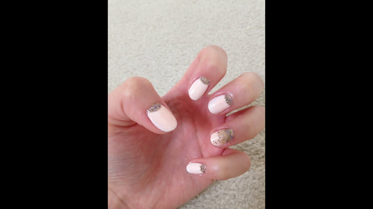 Pink Inverse French Nail (with Gold Glitter) - YouTube