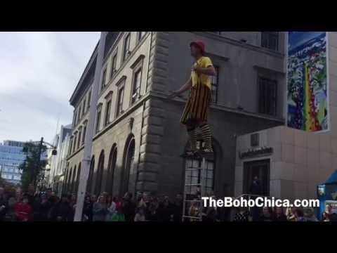 Street artist in Reykjavik, Iceland- The Boho Chica Travel Vlog