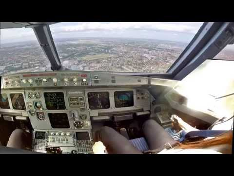 Toulouse, LFBO Cockpit View (improved) Landing 32L Priority Warn