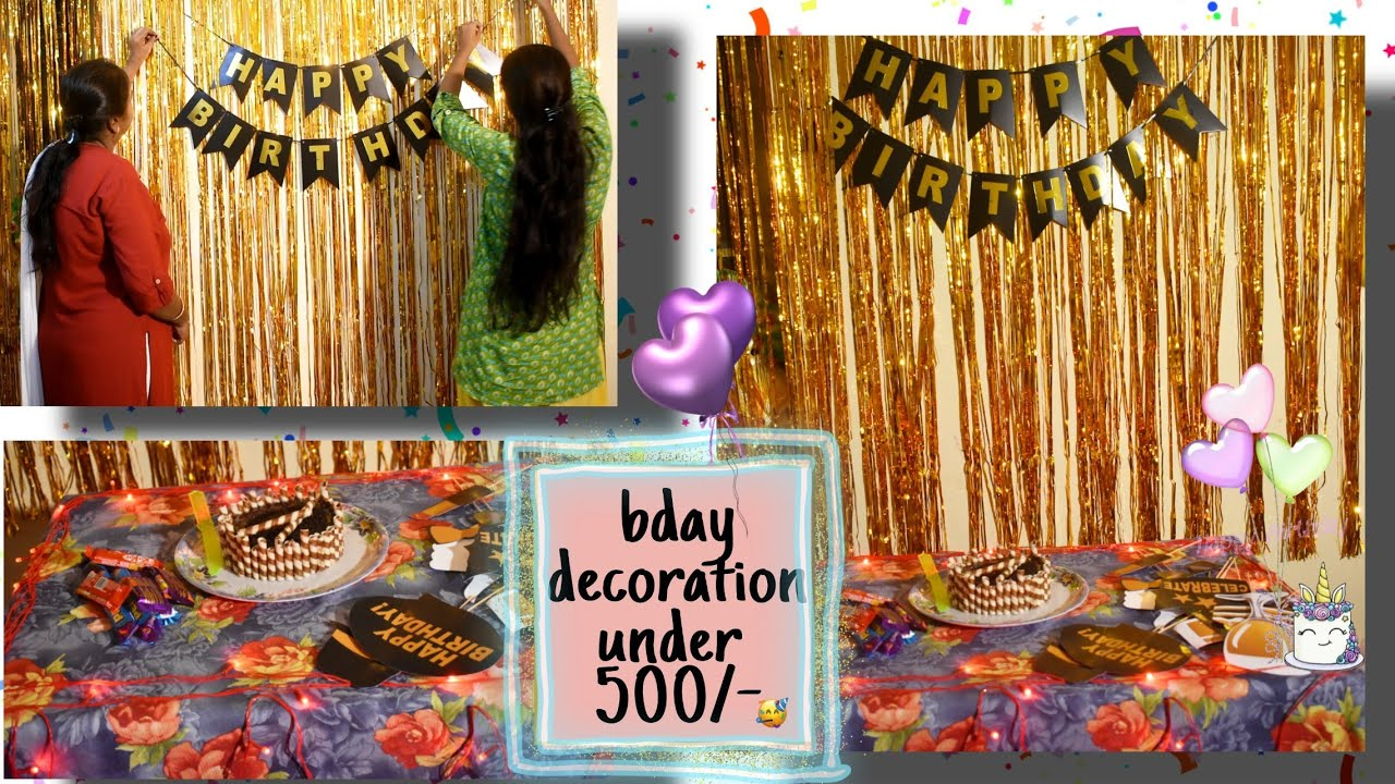 how to decorate foil curtain s and balloons quarantine bday decoration in home under 500