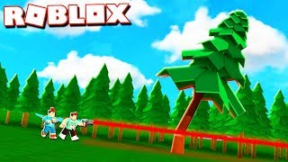 Roblox Adventures - CUTTING DOWN A 9999 FT TREE MIT LASERS! (Holzschneiden Simulator)