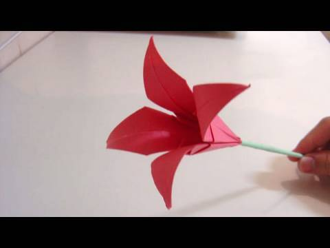 Origami flower lily youtube origami flower lily mightylinksfo