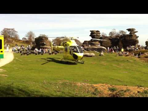 Yorkshire Air Ambulance Lands At Brimham Rocks