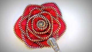 Cómo hacer una rosa con una cremallera. How to make a rose with a zipper.