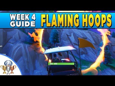 Fortnite All 5 Flaming Hoop Locations - Jump Through Flaming Hoops With A Shopping Cart Or ATK