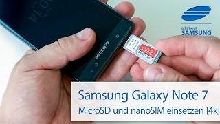 Samsung Galaxy Note 7 MicroSD und nano SIM Karte einlegen 4k